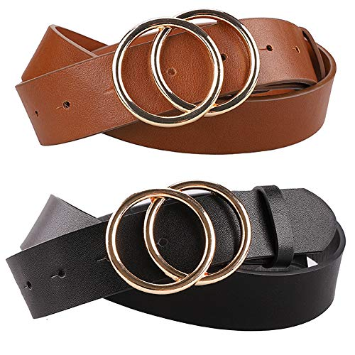 Earnda Women's Faux Leather Belts Dress Double Buckle PU Waistband 2 Pieces Black&Brown Large