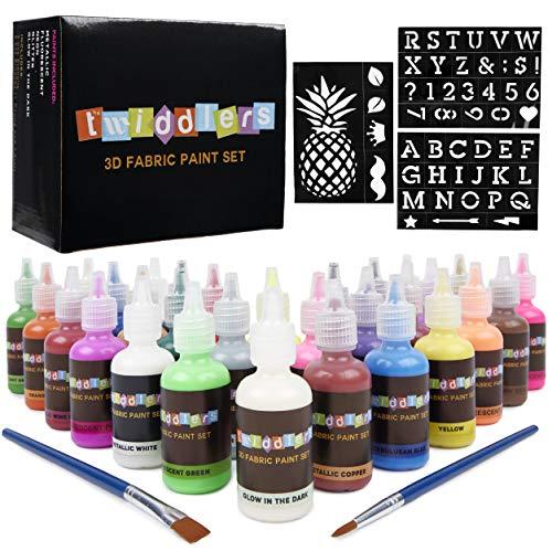 30 Stofffarben Textilfarben 3D Effekt - 30 verschiedene helle Farben - Inklusive Neon, Fluoreszierend, Leuchtend im Dunkeln & mehr - für Textilien, Stoffe, T-Shirts, Leinwände, Holz, Keramik & Glas