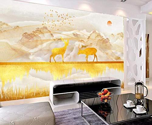Fototapete 3D-Effekttapete Goldene Elchlandschaft Benutzerdefinierte Tapete Wohnzimmer Schlafzimmer Wandbild