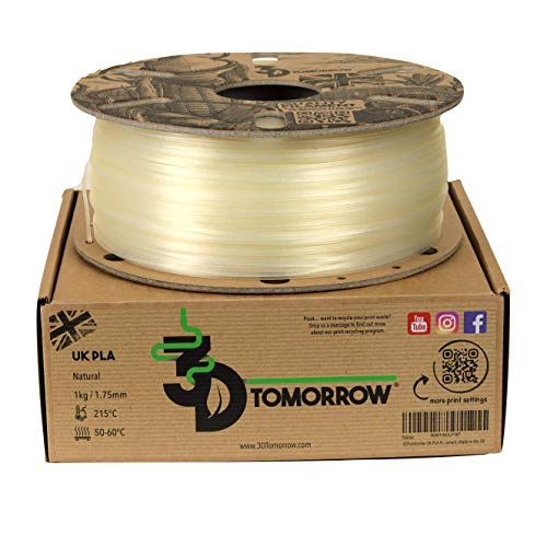 3DTomorrow UK PLA Filament - Natural - 1.75mm, 1kg, 100% Recyclable Cardboard Spool Eco Friendly 3D Printer Filament, Made in the UK