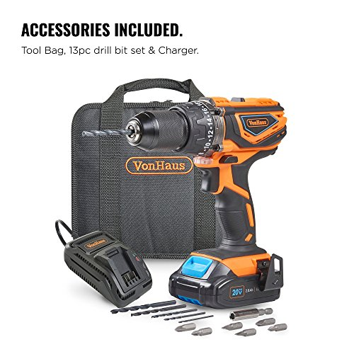 VonHaus Cordless Drill Driver with 2.0Ah Li-ion 20V MAX Battery, Charger, 13pc Bit Set & Power Tool Bag – Hammer…