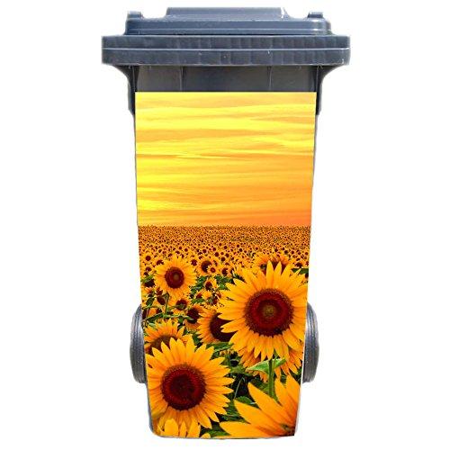 SHIRT-TO-GO Aufkleber für Mülltonne Mülltonnenaufkleber - Motiv Sonnenblumen