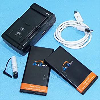 New Microsoft Lumia 640 Battery kit [2Battery + 1Charger] 2700mAh Spare Replacement Li-ion Battery with Portable USB Charger Sync Cable for Cricket Microsoft Lumia 640