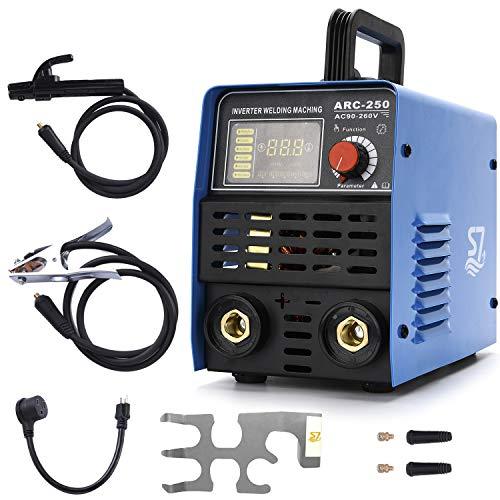 250A ARC Welder Machine, 110/220V MMA Welder, IGBT Digital Display LCD Hot Start Welder With Electrode Holder,Work Clamp, Input Power Adapter Cable