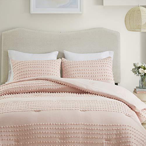 Comfort Spaces 100% Comforter Set Cotton Jacquard Pom Tufts Design Hypoallergenic Down Alternative, All Season Modern Bedding, Matching Shams, Twin/Twin XL, Phillips, Blush 3 Piece