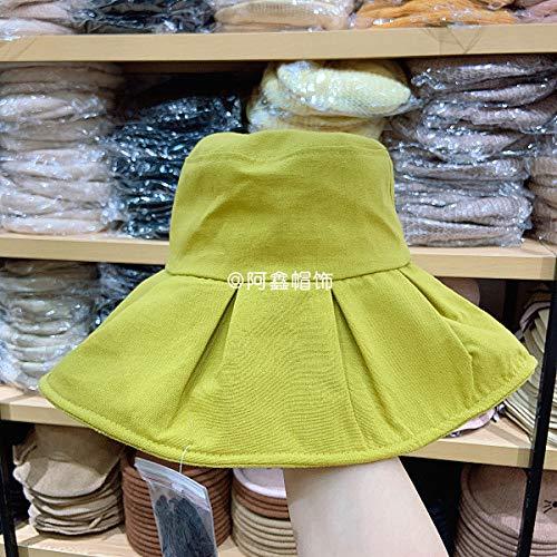 sdssup Frühling und Sommer plissiert große, einfarbige Tuch Fischer Zitronengelb Code