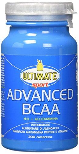 Advanced BCAA - Formula Avanzata - Aminoacidi Ramificati Nel Rapporto 4:1:1 - Leucina, Isoleucina, Valina, Glutammina Peptide, Vitamina B6 - Maggiore Assimilazione - 200 Compresse - Ultimate Italia