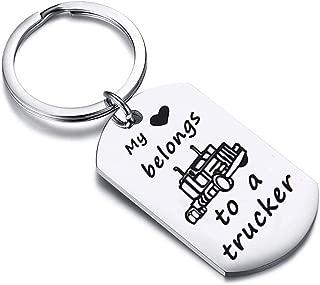 Zuo Bao Drive Safe Keychain My Heart Belongs to A Trucker Husband Keychain Gift for Truckers Wife Girlfriend