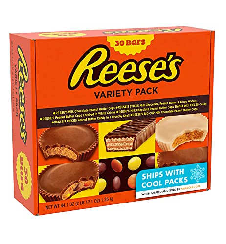 REESE'S Assorted Milk Chocolate, Peanut Butter and White Crème Candy, Gift, 44.1 oz Variety Pack (30)
