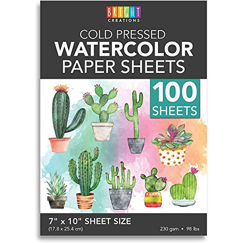 Cold Press Watercolor Paper for Artists and Beginners (7 x 10 in, 100 Sheets)