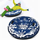 Snow Tube Winter for Sledding Duty Inflatable Snow Sled 47inch with Strong Handles Freeze-Proof & Wear-Resistant for Kids and Adults Blue