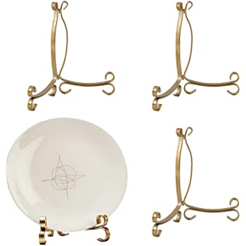 6-inch Set of 6 Brass Finish Large Sized Round Metal Wire Easel Decorative Plate Holder Book Display Stand