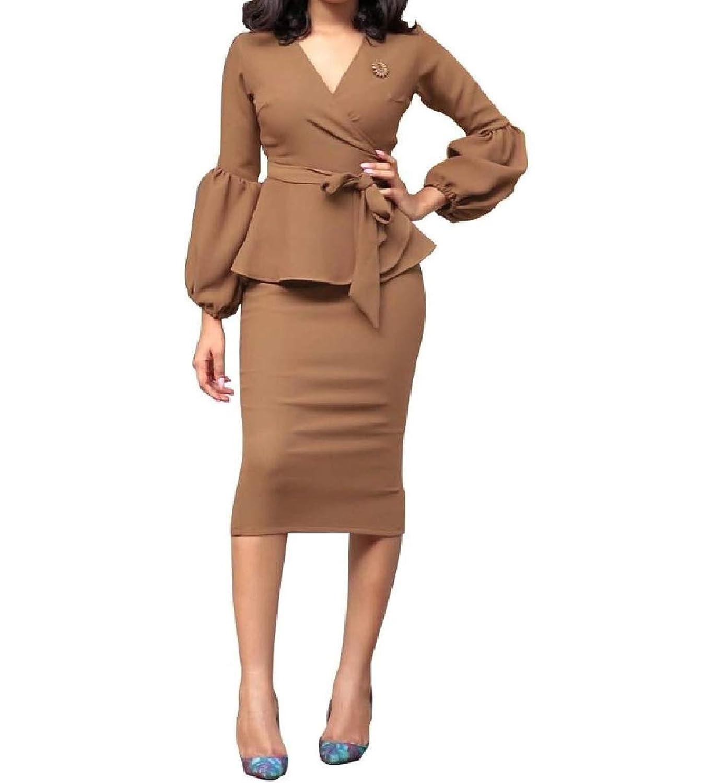 VITryst 女性のフリルベルト付きVネックバックレスジャケットスカートスーツセット