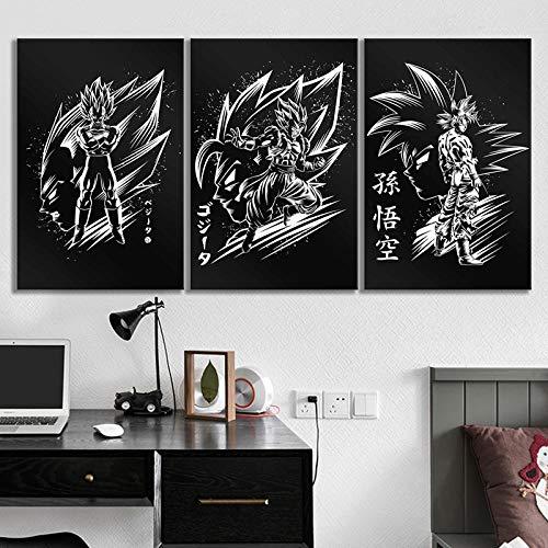 Cartel de lona Decoración para el hogar ar Imagen 3 piezas Negro Blanco Dragon Ball Z Goku Vegeta Anime Impresión Pintura Arte de la pared para el dormitorio-No_Frame_35x50cmx3pcs
