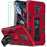 LeYi Funda Xiaomi Redmi 9 con [2-Unidades] Cristal Templado Protector Pantalla, Armor Carcasa Antigolpes PC Silicona TPU Bumper Magnético Buit-in Soporte,Case Redmi 9 Rojo