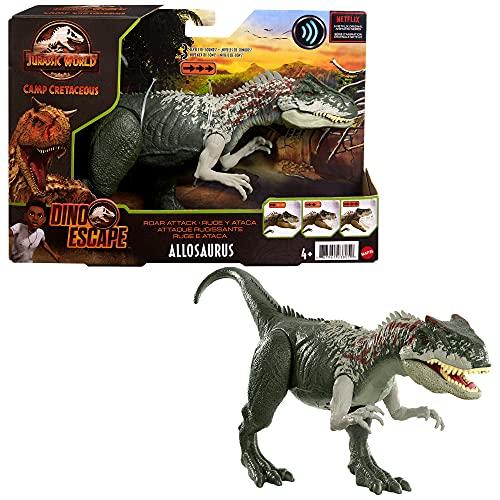 Jurassic World GWD10 - Brüllattacke Allosaurus Camp Cretaceous Dinosaurierfigur mit beweglichen Gelenken, ab 4 Jahren