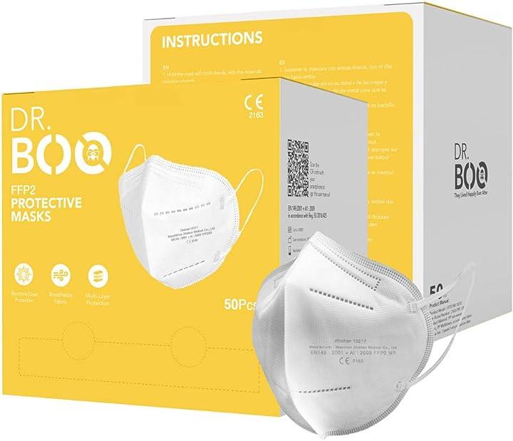 mascherine ffp2 certificate ce mascherina 5 strati senza valvola 50 pezzi dr.boo b08qsflcpv