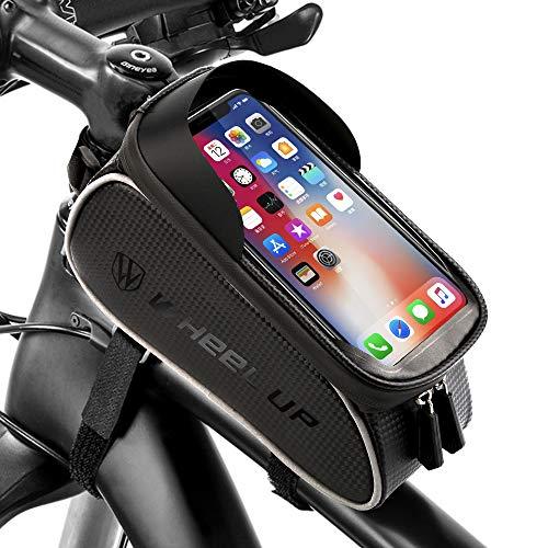 Vegena Sacoche Vélo Téléphone Etanche, Support Téléphone Cadre Universel Sacoche Vélo pour Guidon de Vélo VTT Moto avec Espace Rangement Ecran Tactile Transparent pour Smartphone sous 6,5 Pouces