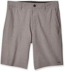 Versatile hybrid short made with comfortable, water-resistant fabric and back welt pockets On-seam hand pockets Zipper fly and internal drawcord