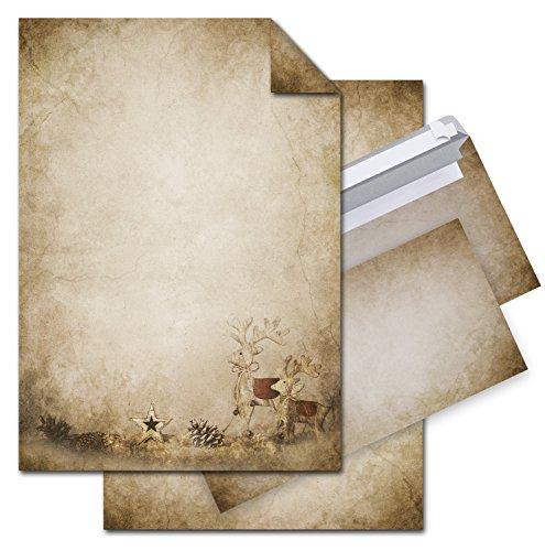 SET 25 Blatt Weihnachts-Briefpapier VINTAGE RENTIER HIRSCH 100g Weihnachts-PAPIER DIN A4 Brief-Bogen + 25 marmoriert vintage natur rot braun alt beige