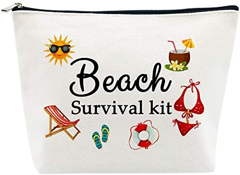 Beach Bags for Women Beach Tote Gifts Beach Survival Kit Cosmetic Bag Funny Beach Accessories product image