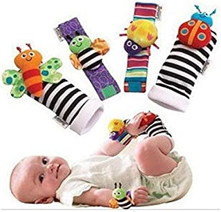 1 X Baby Wrist Rattle & Foot Finder Toys - Set of 4PCS Baby Infant Soft Toy Style New