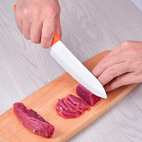 Ceramic Knife Set, 6 Piece Kitchen Knife Set with Sheath Covers