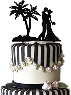Wedding Cake Topper, Palm Tree with Bride and Groom Couple, Elegent Wedding Cake topper, Black Acrylic Food safe Wedding Engagement Anniversary Party Cake Topper Cake Decoration (Black,Width 5.9 inch)