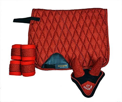 Equipride - Sottosella da dressage con lavorazione a velo e bende in tessuto glitterato rosso (pony)