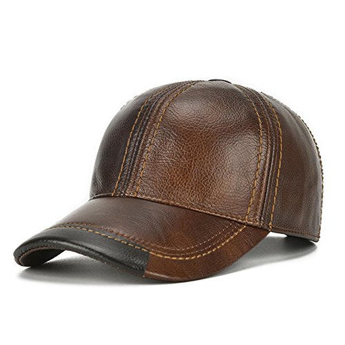 HSRT Mens Cowhide Leather Solid Adjustable Baseball Cap Casual Cosy Sunshade Sport Cap Brown