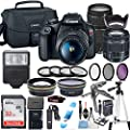 Canon EOS Rebel T7 Camera w/Canon EF-S 18-55mm is II Lens & 75-300mm f/4-5.6 III Lens + 32GB Sandisk Memory + Canon Case + High Speed Slave Flash + Commander Optics Accessory Bundle
