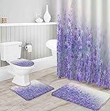 MQWEMJ Cortinas de Ducha, Flor de Lavanda púrpura blanca150×180 cm con alfombras Antideslizantes, Tapa de Inodoro y Alfombrilla de baño, Cortina de Ducha con 12 Ganchos, Tela Impermeable