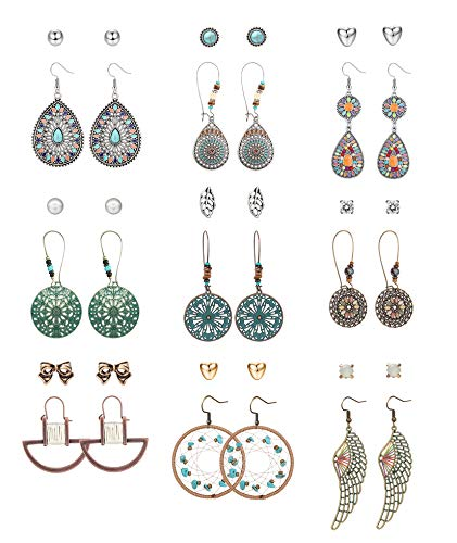 CASSIECA 18 Pairs Fashion Drop Dangle Earrings Set for Women Girls Vintage Silver Bronze Earrings with Pearl Hollow Leaf Turquoise Feather Dreamcatcher Bohemian Statement Jewelry for Birthday/Party