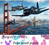 Wood Puzzle 1000 Piece, Aircraft Puzzles, World War 2 Aircraft Puzzle,Fighter Aircraft Retro Pattern