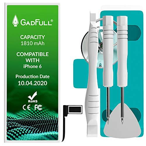 GadFull Akku für iPhone 6 | 2020 Baujahr | Reparaturset mit Anleitung & Ersatz Klebestreifen Set | ohne Ladezyklen | Qualitäts Erzatzakku | Funktioniert mit alle original APN | Accu Batterie Battery