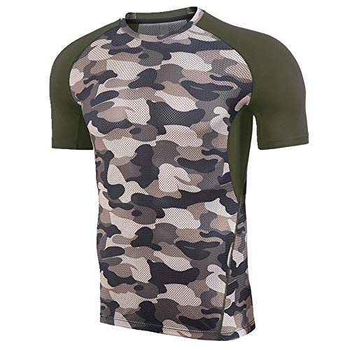 NOBRAND New Fitness Suit Herren Elastisch Schnell Trocknend Camouflage Training T-Shirt Gr. XL, military green