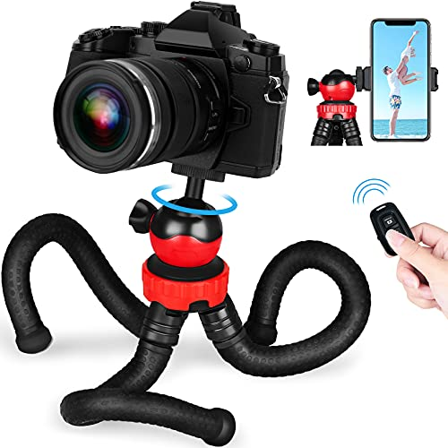 Phone Tripod, GooFoto Flexible Tripod for iPhone with Wireless Remote, Premium Smartphone/Camera Tripod, Mini Vlogging Tripod Stand Holder Compatible with iPhone, Android/Samsung Phone