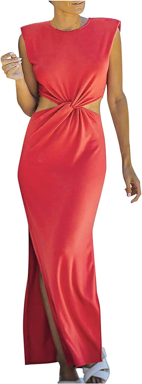 Wedding Guest Dresses for Women Summer Elegant Party High Neck Tank Dress Hollow out Twist Knot Side Split Maxi Dress