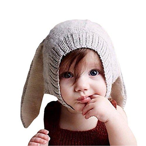 EROSPA® Süße Baby-Winter-Mütze mit Hasenohren Rabbit Strickmütze Beanie Mädchen Jungen Kaninchen (Grau)