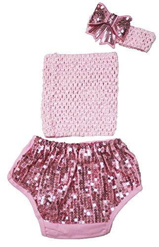 Rose clair Tube Dessus avec paillettes Coton bloomer Pantalon bébé Vêtements Tenue 3–12 m - Rose -