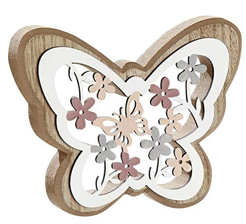 dekojohnson Deko-Schmetterling 3D Holzschmetterling mit Blumendekor Standdeko Fensterbankdeko zum Stellen Natur bunt 13x2x13cm Osterdeko Zimmerdeko