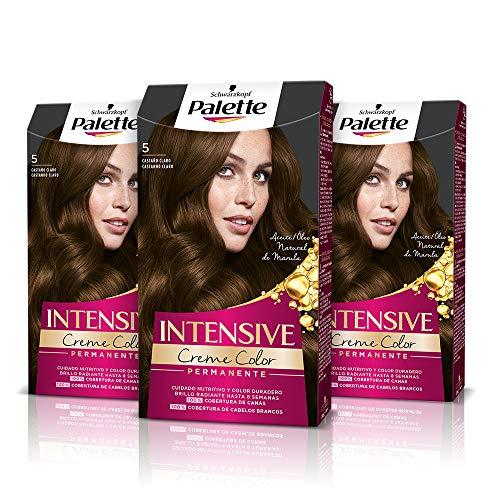 Schwarzkopf Palette Intensive Creme Color - Tono 5 cabello Castaño Claro (Pack de 3) Coloración Permanente de Cuidado con Aceite de Marula, Perfecta cobertura de canas, Color duradero hasta 8 semanas