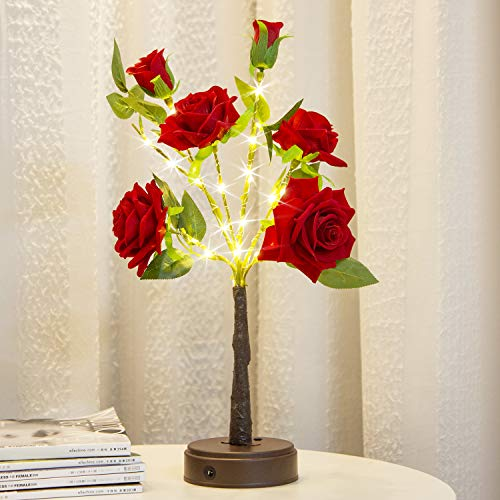 Elnsivo Rose Tabletop Tree Light, Artificial Flower Bonsai Tree with Lights Gift for Mom Girls Teens Valentine's Day Mothers Day Desk Tree Lamp for Table Home Indoor Christmas Living Room Decor
