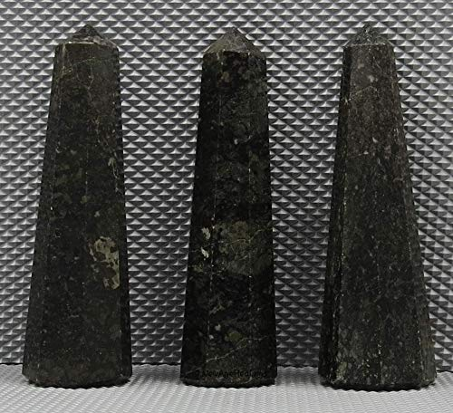 """Nuummite Crystal Towers ~ Natural Crystal Point Obelisk for Reiki Healing and Crystal Grid (2"""" to 3"""" INCH)"""