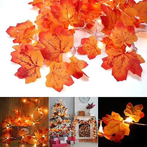 Decorazioni Autunnali, BrizLabs 30 LED Luci di Halloween Ghirlanda di Decorazioni per il Ringraziamento con Foglia d'acero Autunno Catena Luminosa Esterno Natale Parete Interno Festa Giardino
