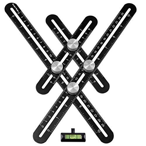 Multiwinkel Vorlage Werkzeug Winkelmesser Verstellbarer Winkel - Angleizer Aluminium Universal Metall Rechter Winkel Multiwinkelmessgerät mit Wasserwaage und Tasche