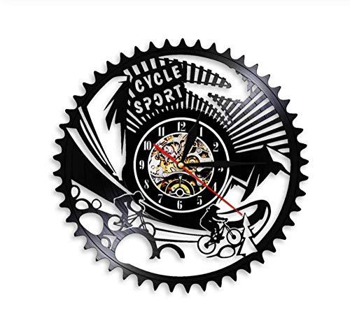 hutianyu fiets sport mountainbike muur klok tandwielen mountainbike vintage Vinyl Record wandklok fietsen fiets Bikers