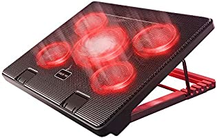 Kootek Laptop Cooler Cooling Pad, 5 Quiet Red LED Fans Up to 17 Inch Gaming Cooler Pad, Laptop Notebook Cooler, 6 Angle...