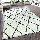 Paco Home Teppich Wohnzimmer Creme Weiß Weich Groß Shaggy Flokati Rauten Muster Hochflor, Grösse:80x150 cm