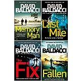 David Baldacci Amos Decker Series 4 Books Collection Set (Memory Man, The Last Mile, The Fix, The Fallen)